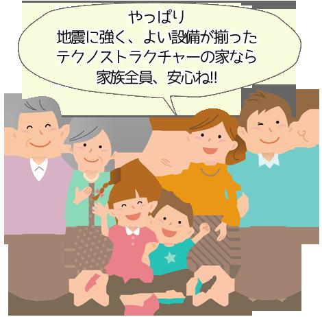 やっぱり地震に強く、よい設備が揃ったテクノストラクチャーの家なら家族全員、安心ね!!